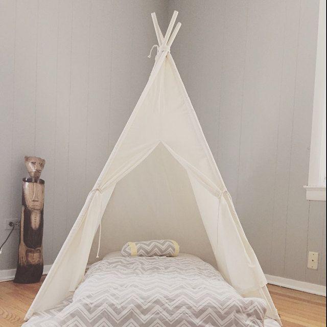 Lightweight Muslin Teepee Used As A Bed Canopy Great Idea Teepee Bed Teepee Kids Bed