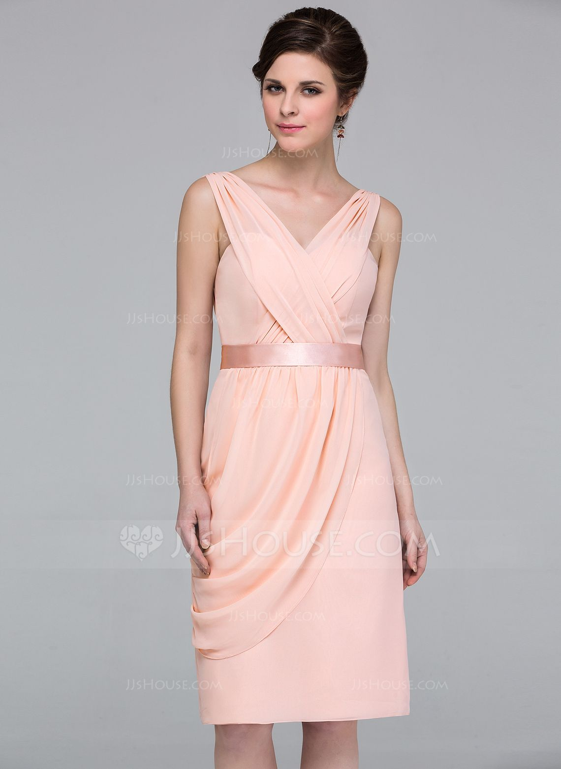 Peach dress for wedding guest  Column Kneelength Chiffon Bridesmaid Dress with Side Draping