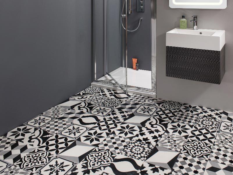 Articima Zementfliesen Patchwork schwarz weiss | Gäste WC | Pinterest