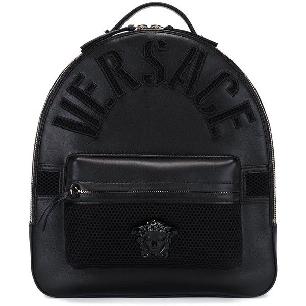 4f066022393 Versace embossed logo backpack (3 633 AUD) ❤ liked on Polyvore featuring  bags, backpacks, black, purses, zip bag, leather zipper backpack, leather  backpack ...