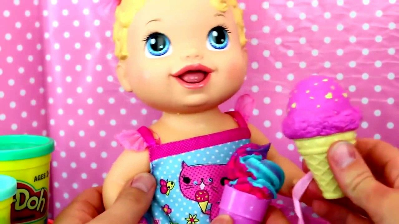 Baby Aliveyummy Treat Baby Doll Licks And Eat Play Doh Ice Cream Cones Baby Alive Baby Dolls Play Doh Ice Cream