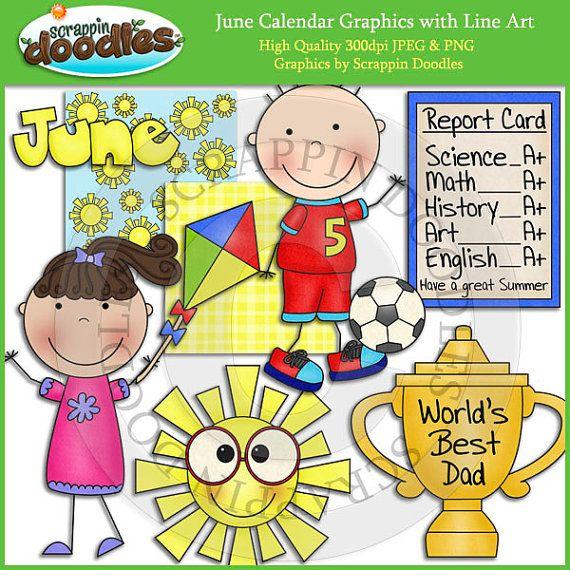 Calendar Clipart June Bulletin Board June Clipart Etsy Clip Art Downloadable Art Line Art