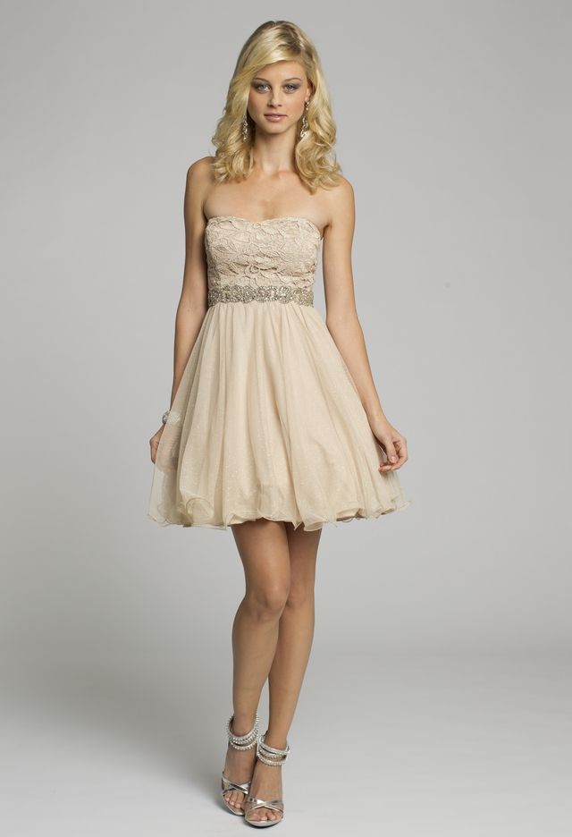 Homecoming Dresses - Strapless Lace Short Dress with Beaded Trim ...