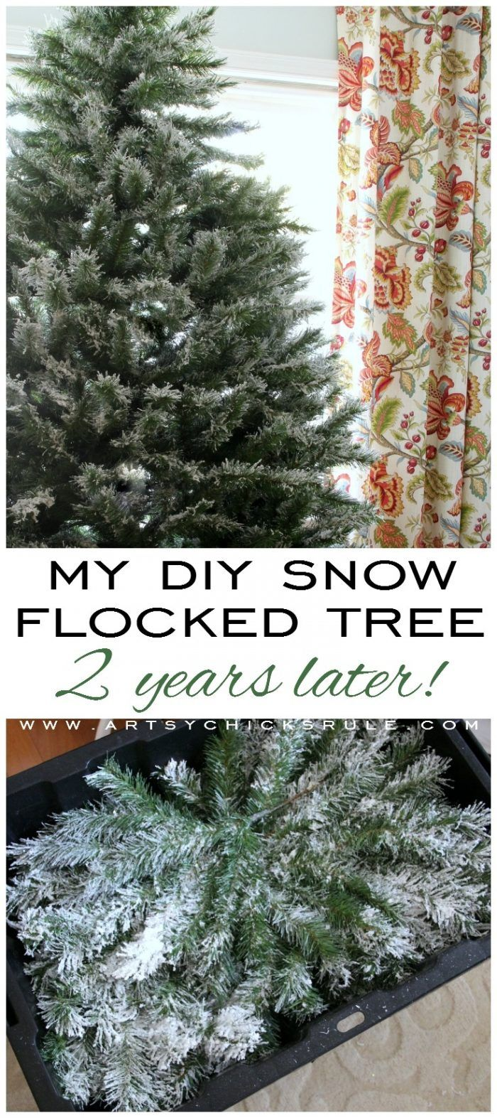 My DIY Snow Flocked Tree 2 Years Later (all the details