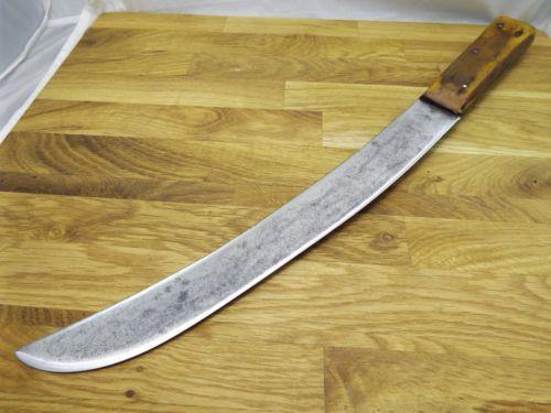 RAZOR-SHARP-antique-A-J-JORDAN-Forged-CARBON-STEEL-Cimeter-Butcher-Knife-vtg