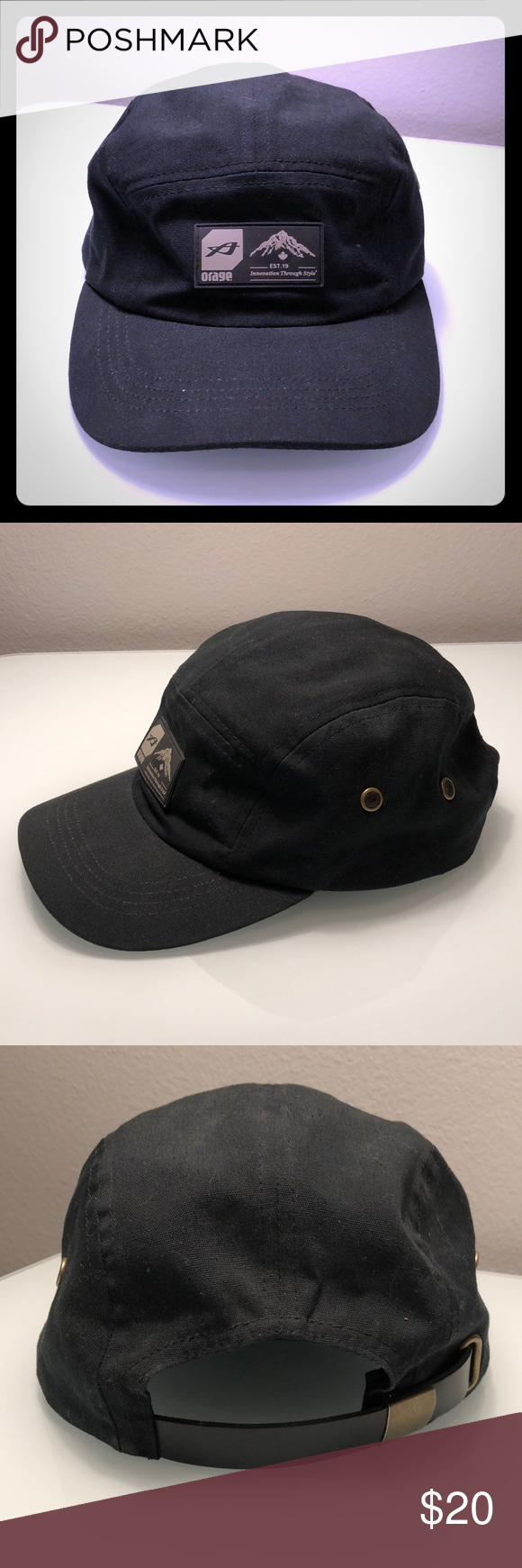 Orage Five Panel Hat Black Orage Ski Supplies 5 Panel Hat Two Metal Vent Holes On Each Side W An Adjustable Faux L Panel Hat Five Panel Hat Accessories Hats
