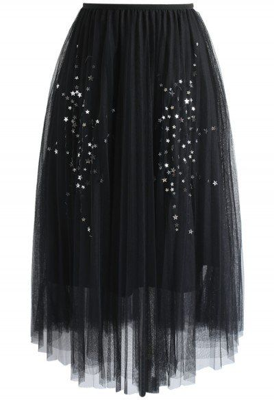 d847997f85 This black tulle skirt is the gothic chic item you need to add the elegance  of black to your closet. The mesh and glittery polka dots also make ...