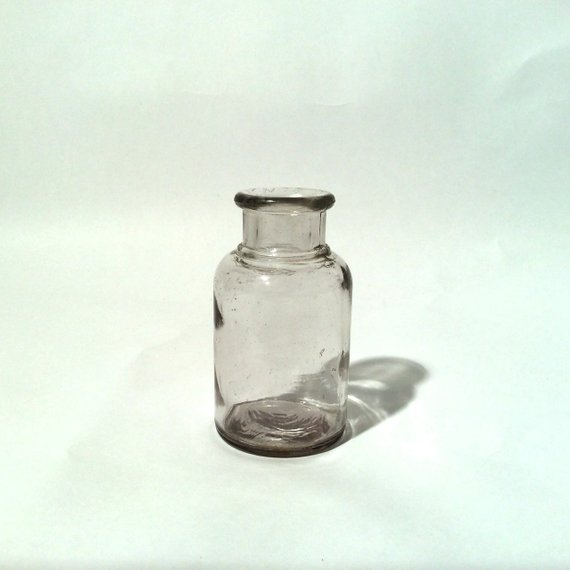 Vintage 1960s Medium Sized Medicine Spice Laboratory Glass Bottle