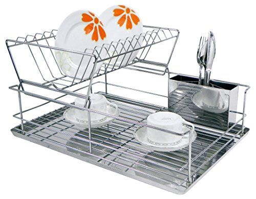 Home Basics 2 Tier Dish Rack Cool Home Basics 2Tier Steel Dish Rack With Removable Utensil Cup ** Want Review