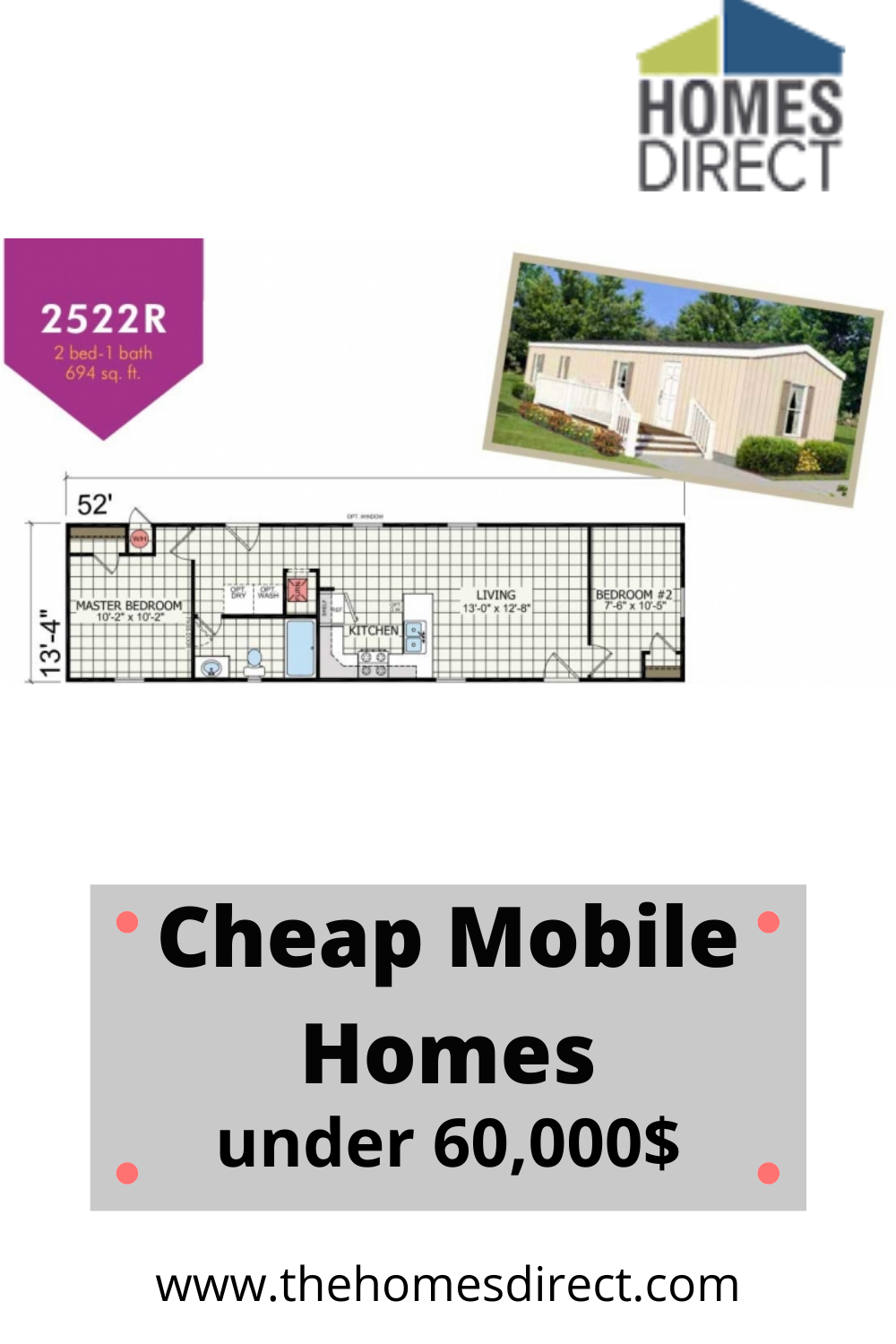 Champion 2 Bedroom Manufactured Home Le2522r For 46541 In 2020 Cheap Mobile Homes Floor Plans Mobile Homes For Sale