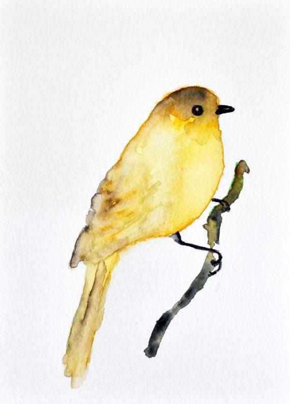 Yellow Sparrow Original Watercolor Bird Painting By Artcornershop