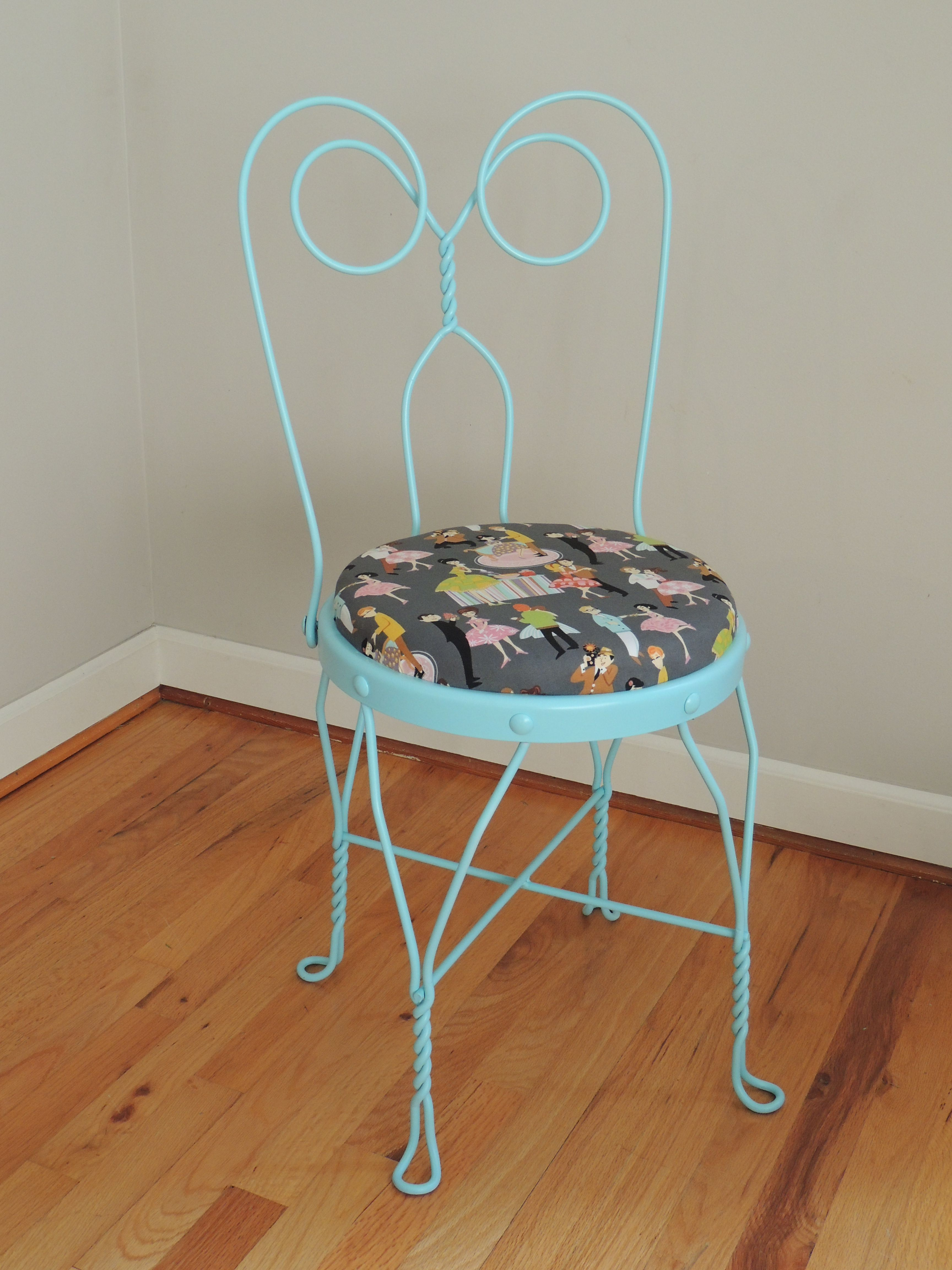 Turquoise Vintage Ice Cream Parlor Chair With Fifties Party Scene Fabric
