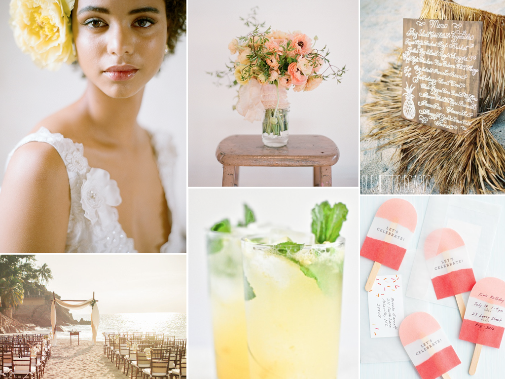 love this beach wedding inspiration board with warm sunset colors
