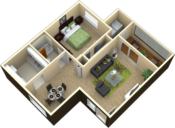 1 bedroom 1 bath 650 sq ft Details This is a great floorplan