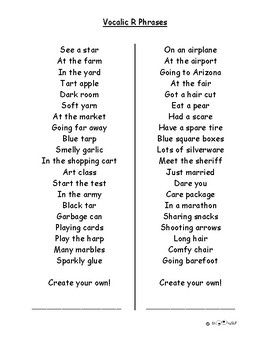 Vocalic R Carryover Practice Phrases Speech Therapy Materials
