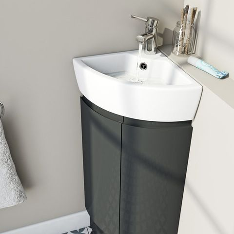 Mode Curvaceous Slate Compact Corner Vanity Unit And Ceramic Basin Victoriaplum Com Small Bathroom Sinks Corner Vanity Unit Corner Sink Bathroom Small