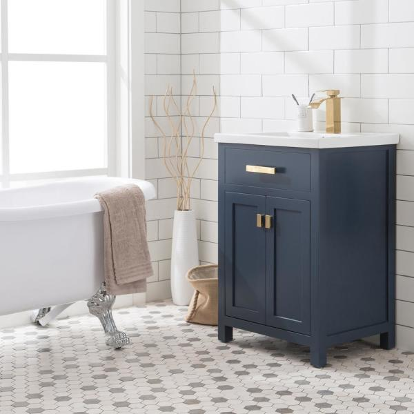 Water Creation Myra 24 In W Bath Vanity In Monarch Blue Finish With Ceramics Integrated Vanity Top With W In 2020 Single Bathroom Vanity 24 Inch Vanity Water Creation