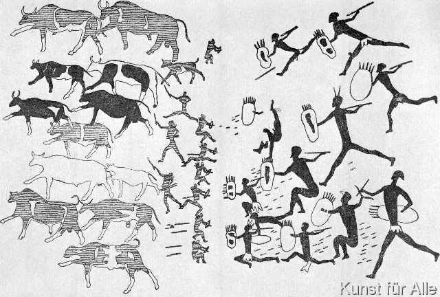 Höhlenmalerei Buschmänner verteidigen Rinderherde. Art ...