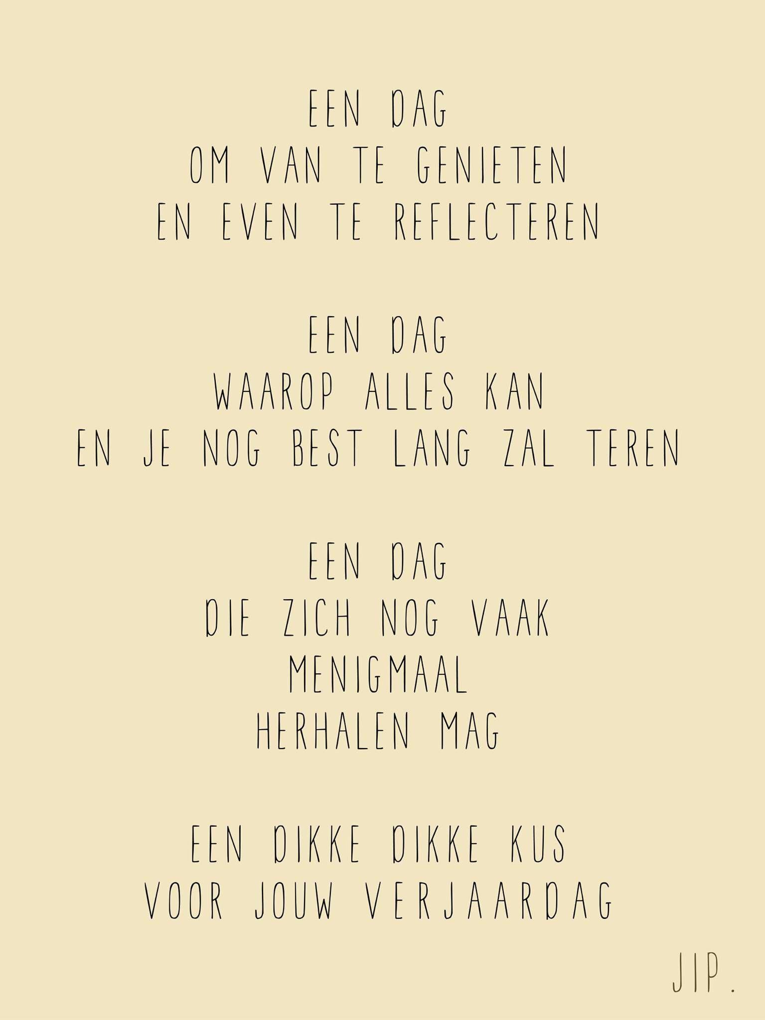 jarig versje Verjaardag versje, kaartje met een gedichtje om iemand te  jarig versje