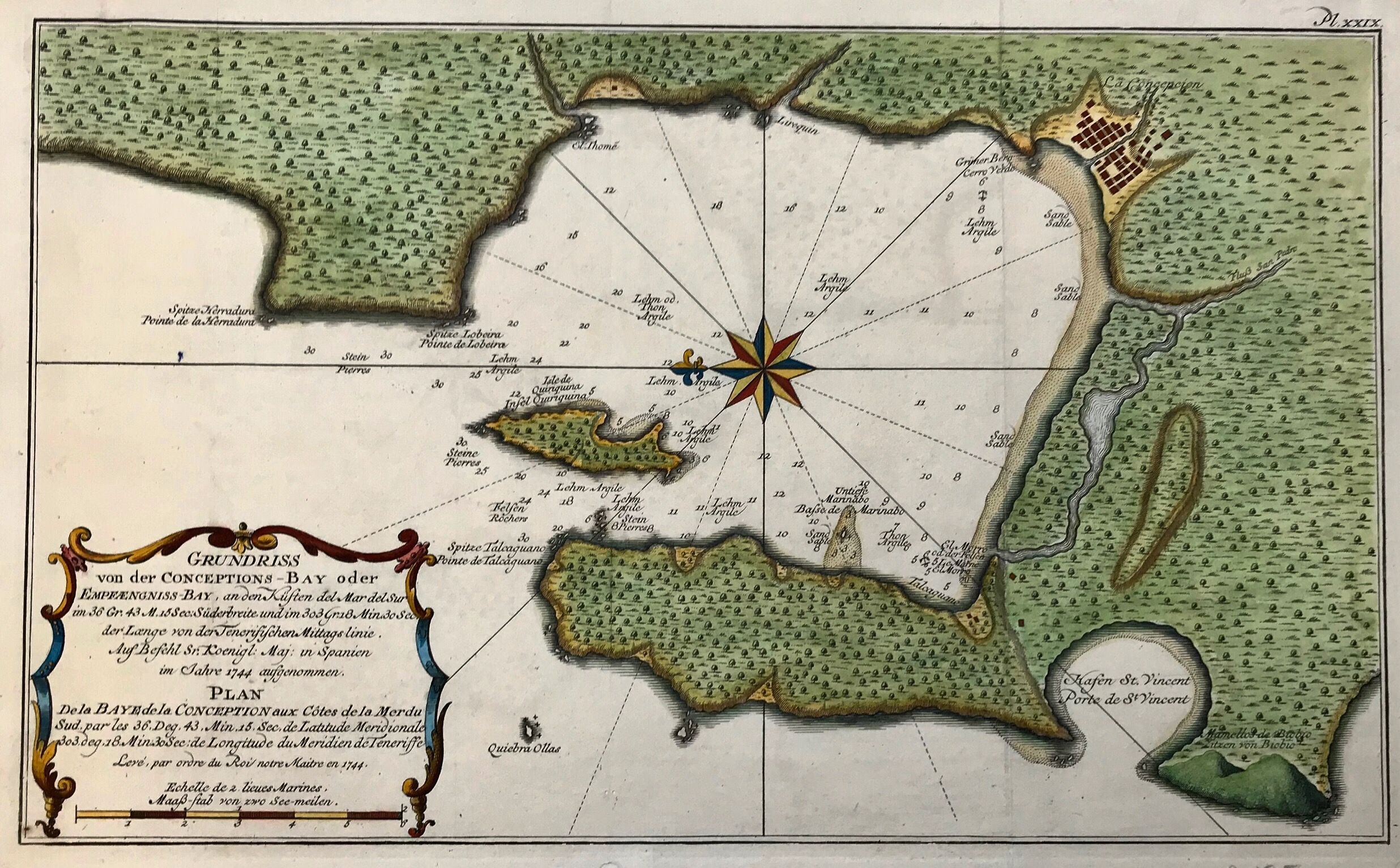 Antique And Rare Prints Map Of Concepcion Bay Chile Antique Maps Engraving Printing Map