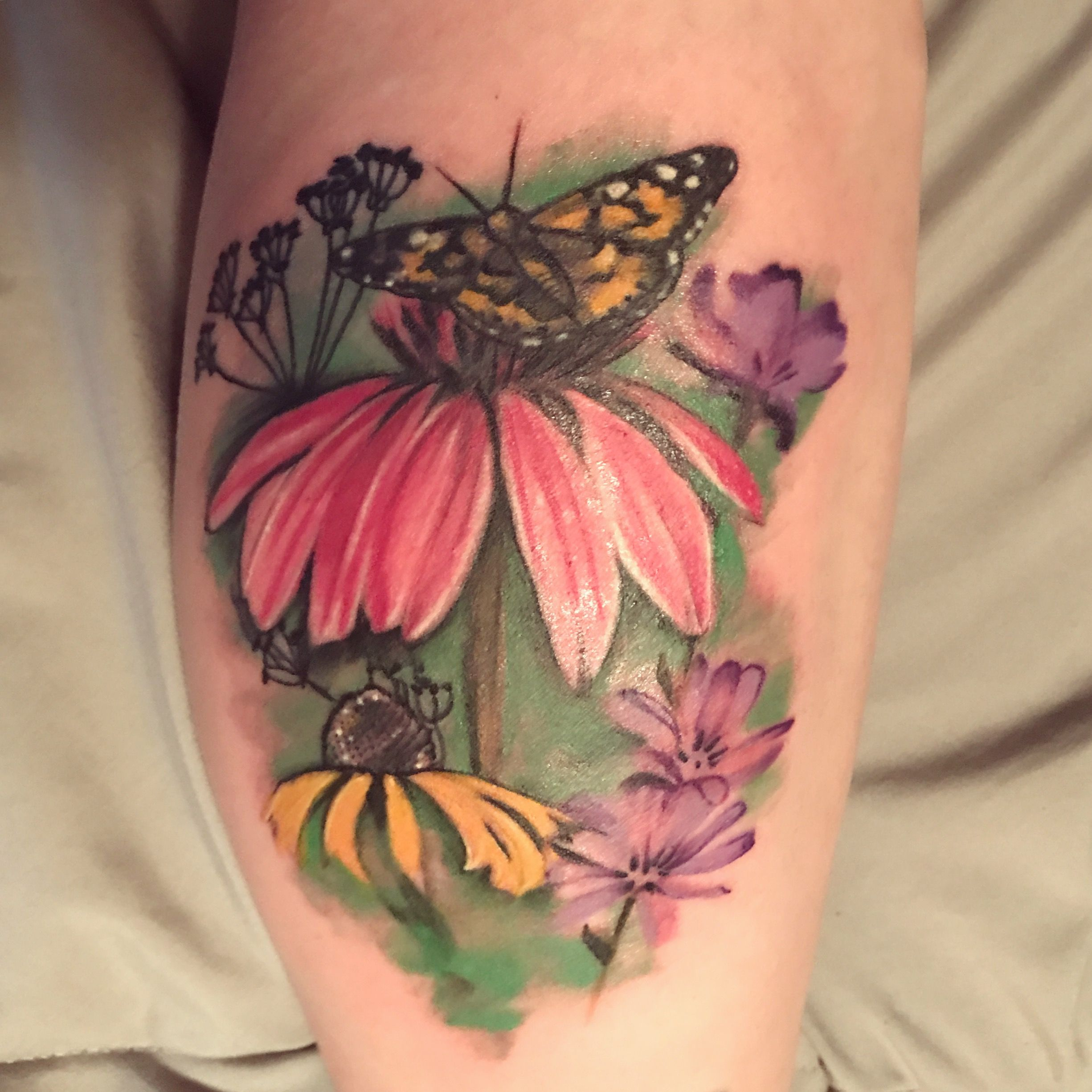 Watercolor Butterfly Garden Tattoo Wildflowers Painted Lady Butterfly Coneflower Echinacea Ch Lace Flower Tattoos Garden Tattoos Rose And Butterfly Tattoo