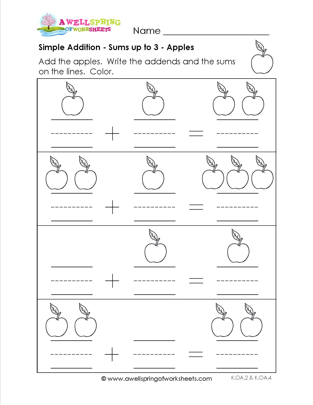 Kindergarten Simple Addition Worksheets
