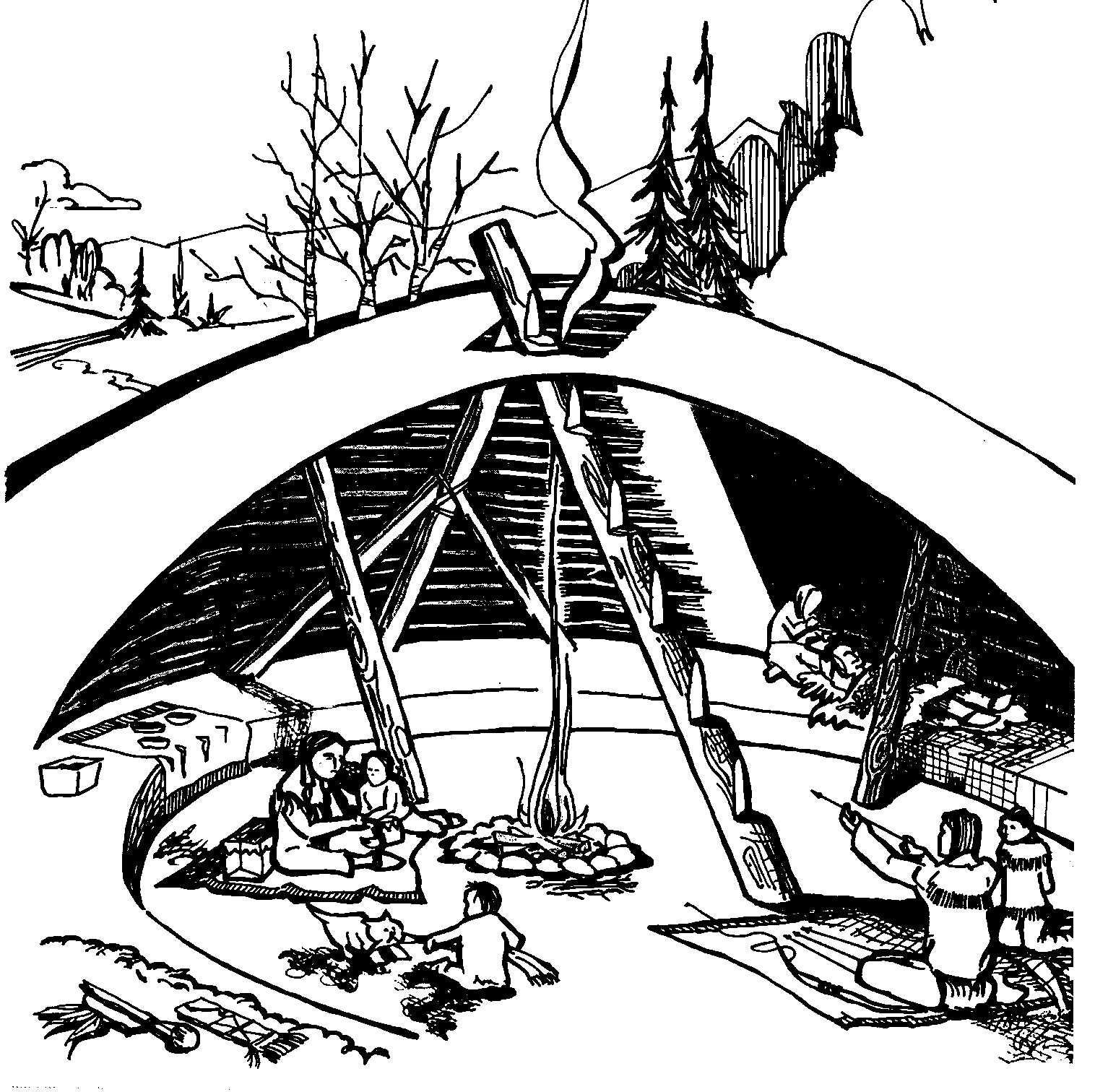 Indian Wilderness Survival Skills: Pithouse Illustration