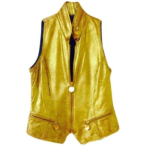 Pre-owned Donna Karan Leather Moto Vest (13.185 RUB) ❤ liked on Polyvore featuring outerwear, vests, liquid gold, leather waistcoat, donna karan, yellow vest, leather vest and vest waistcoat