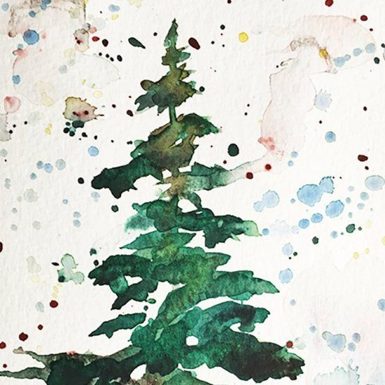 You Can Paint This Beautiful Watercolor Christmas Tree Card In Less Than 5 Minutes Yo Watercolor Christmas Tree Watercolor Christmas Cards Christmas Paintings
