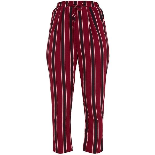 1f41cd03f86f44 Burgundy Multi Stripe Casual Trousers ($40) ❤ liked on Polyvore featuring  pants, red trousers, striped trousers, burgundy trousers, red stripe pants  and ...