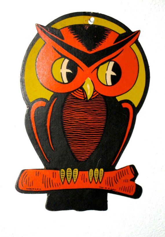 Halloween SALE 1300 Vintage early halloween owl decoration Luhrs - vintage halloween decorations