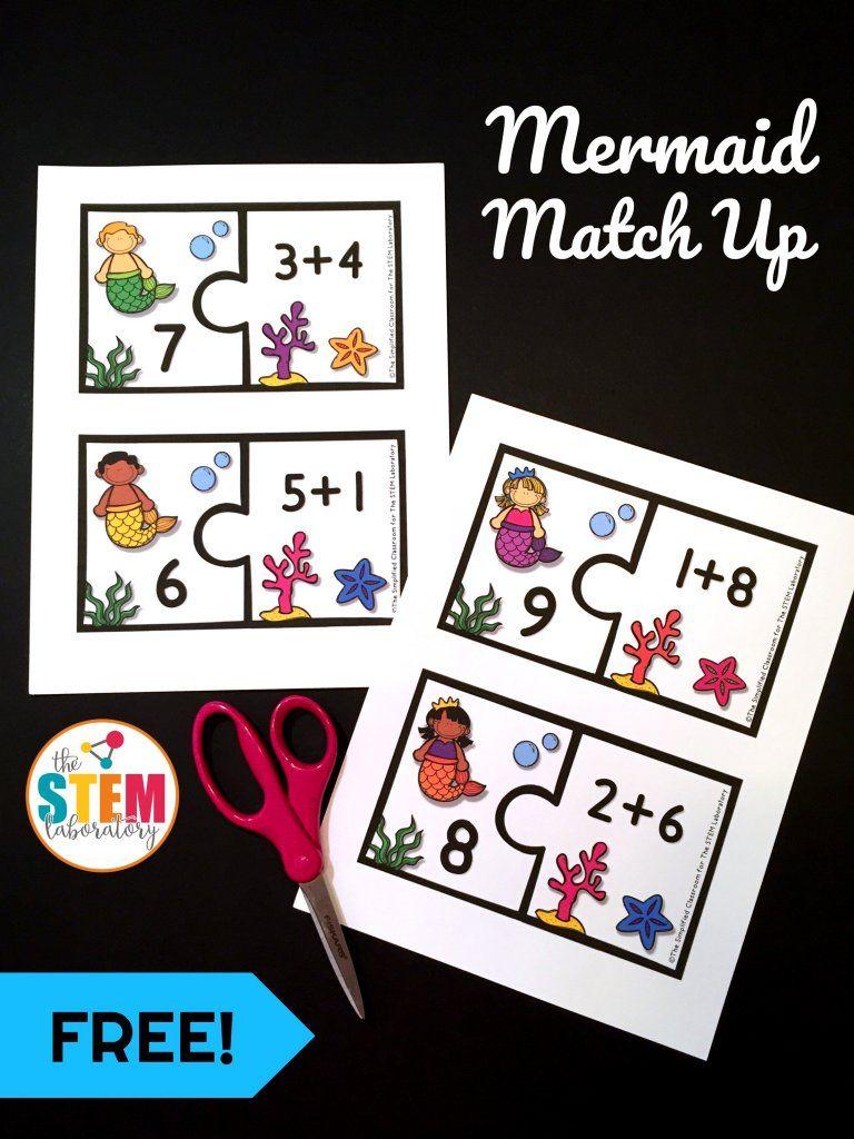 Mermaid Addition Match Up | رياضيات جميلة | Pinterest | Mathe ...