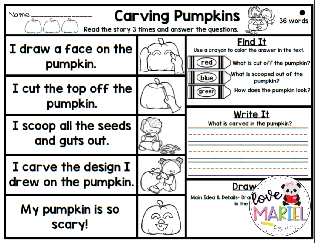 Halloween Sequencing Pack Writing Center Comprehension Worksheets Halloween Words [ 816 x 1056 Pixel ]