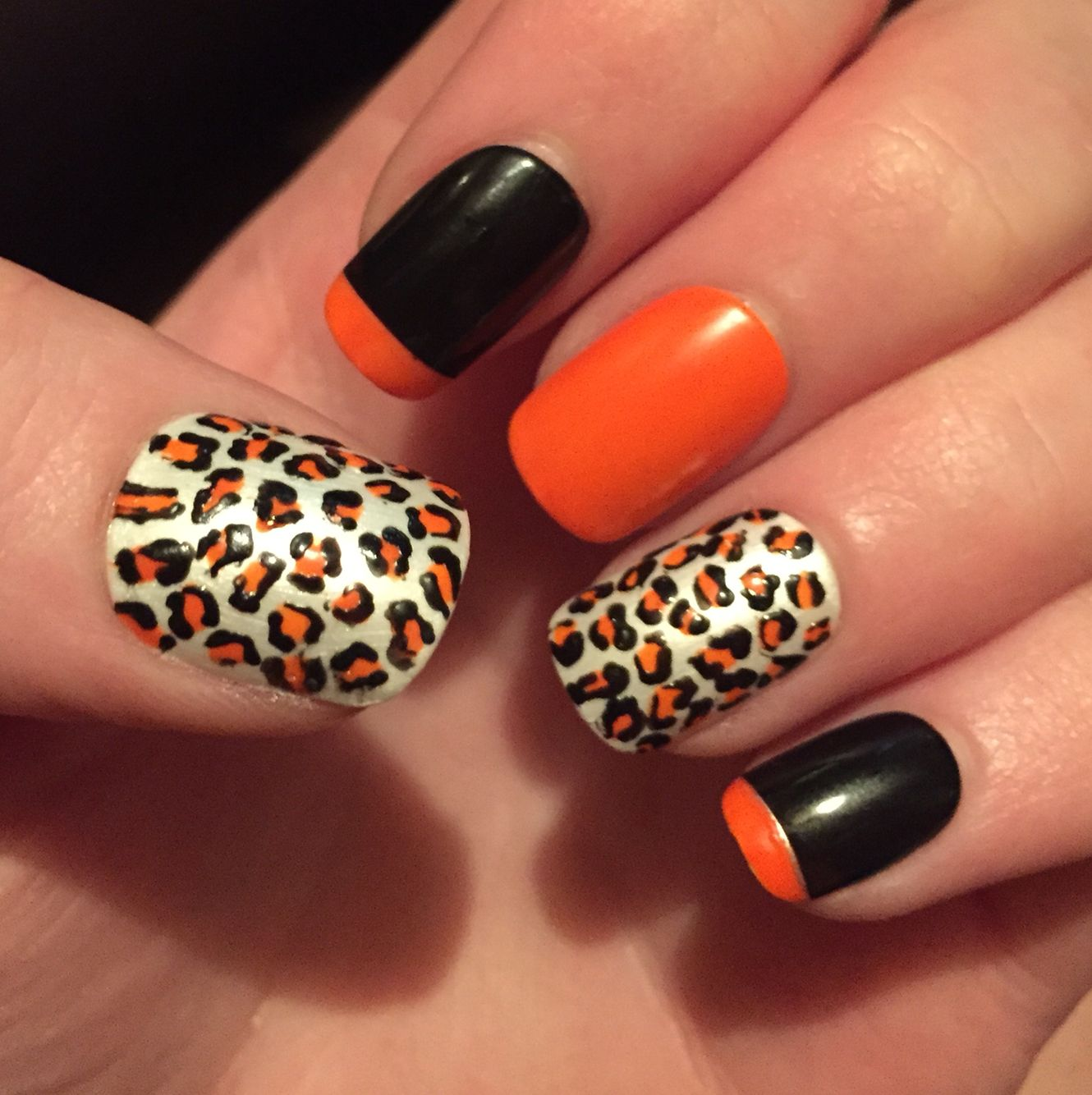 Neon orange leopard nail art | Nail designs | Pinterest | Leopard ...