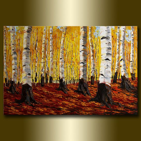Birch Tree Forest Landscape Painting Oil on Canvas Textured