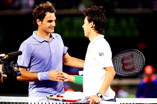 Roger Federer and Kei Nishikori at the Sony Open 2014