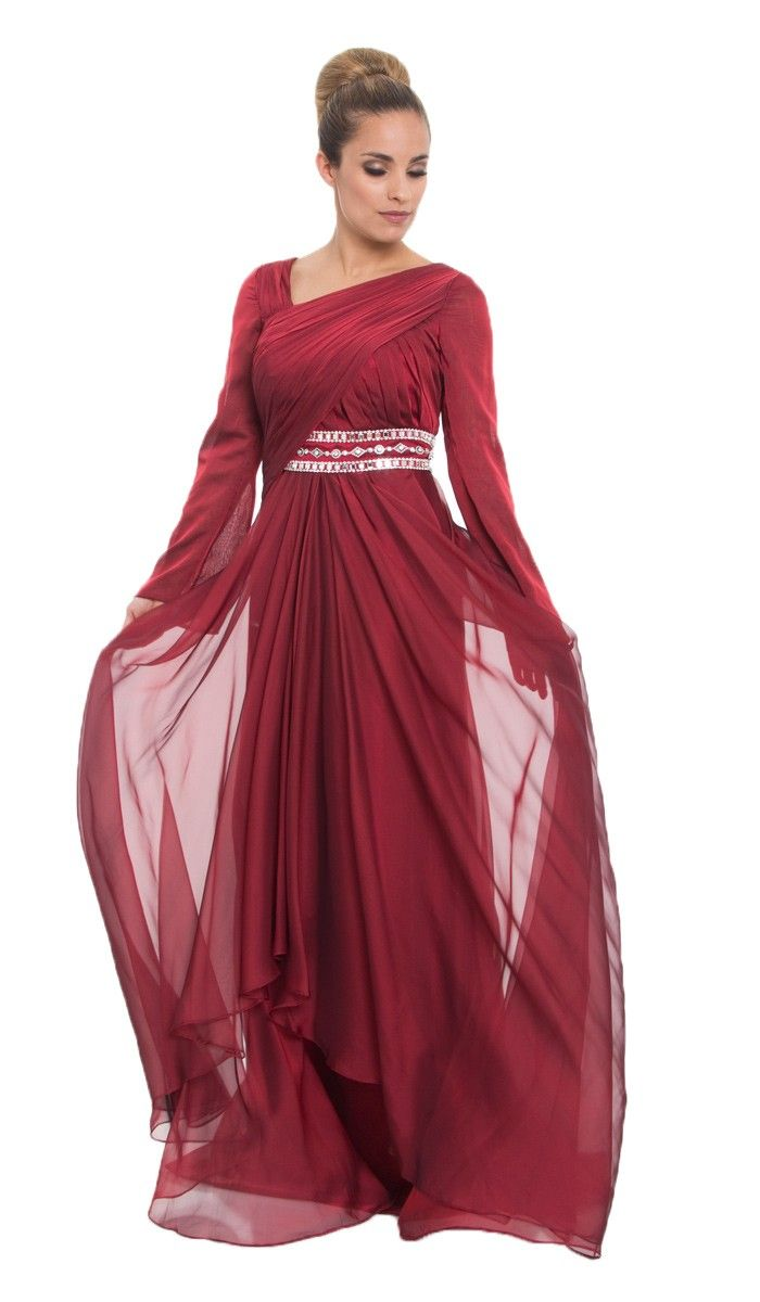 Burgundy Silk Chiffon Islamic Formal Long Dress with Hijab ...