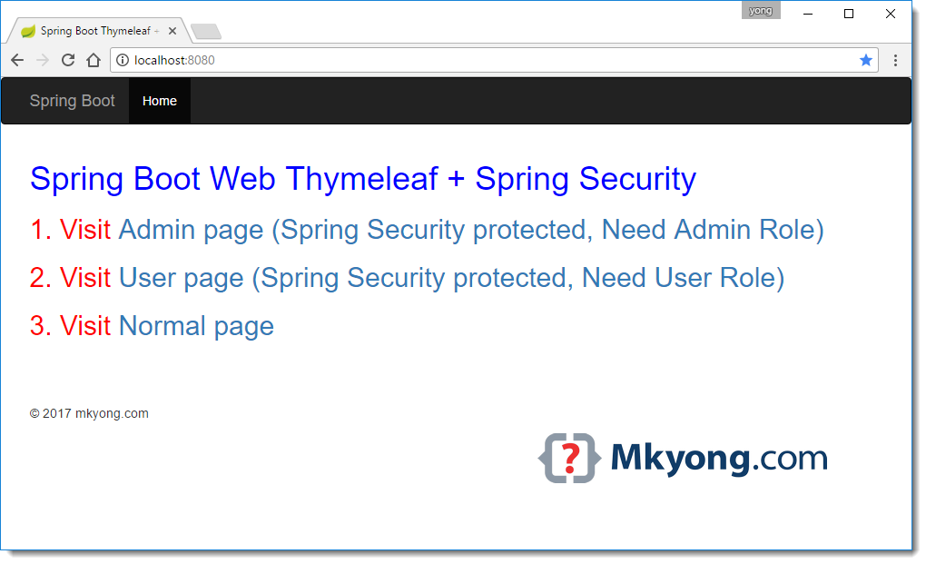 Spring Boot Spring Security Thymeleaf Example Mkyong Com Spring Boots Spring Security