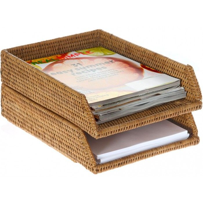 Rattan Stackable Letter Tray Honey Brown Rattan Writing Desk Decor Letter Tray