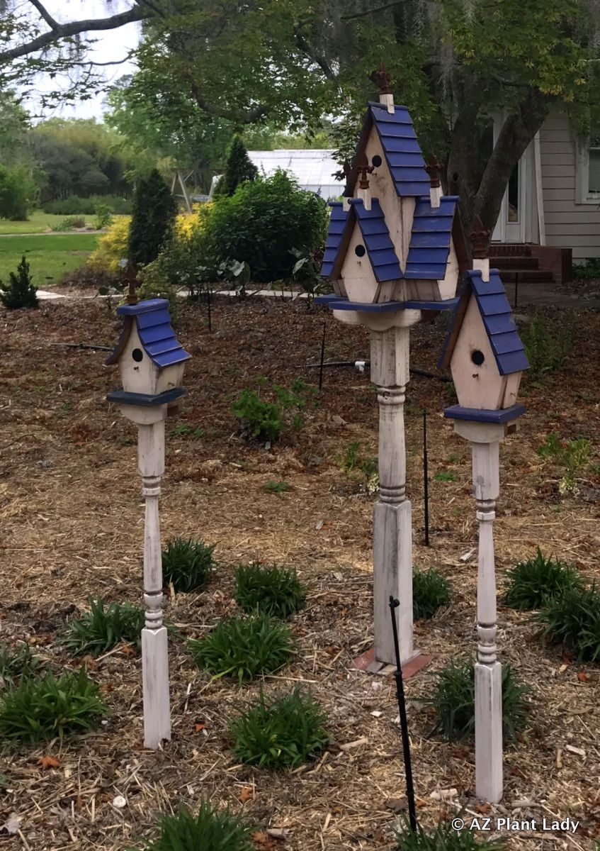 A trio of blue-roofed bird houses stand sentinel at the #Coastal ...