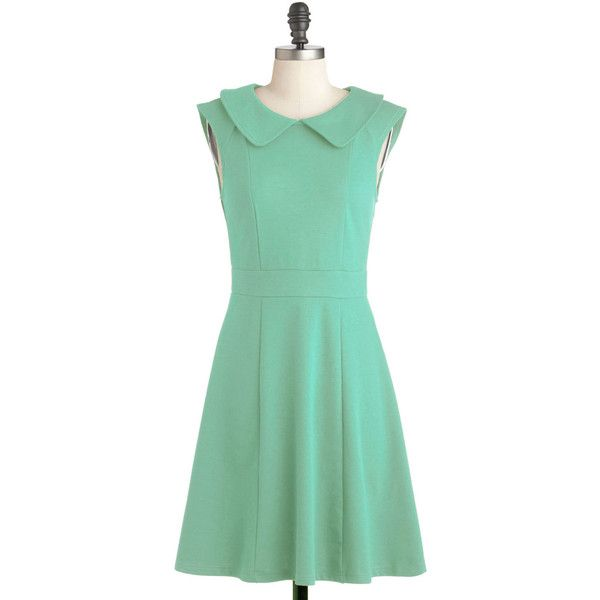 ModCloth Vintage Inspired Mid-length Cap Sleeves A-line Foxtail Fern... ($43) ❤ liked on Polyvore featuring dresses, mint, mint cocktail dress, pastel green dress, a line cocktail dress, pastel dresses and a line dress