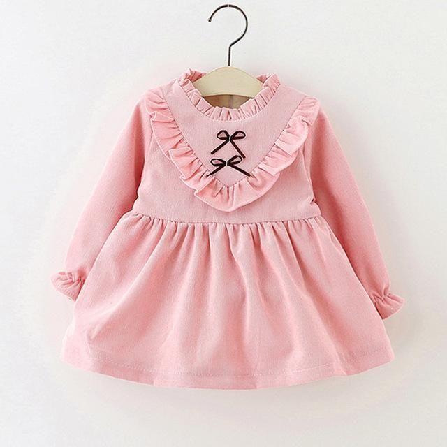 a4ac5c1ad Girls Winter dress with fleece for girl Children Plus Velvet Warm Tops Kids  Dress fit Autumn winter 0-4 years thick Full sleeve