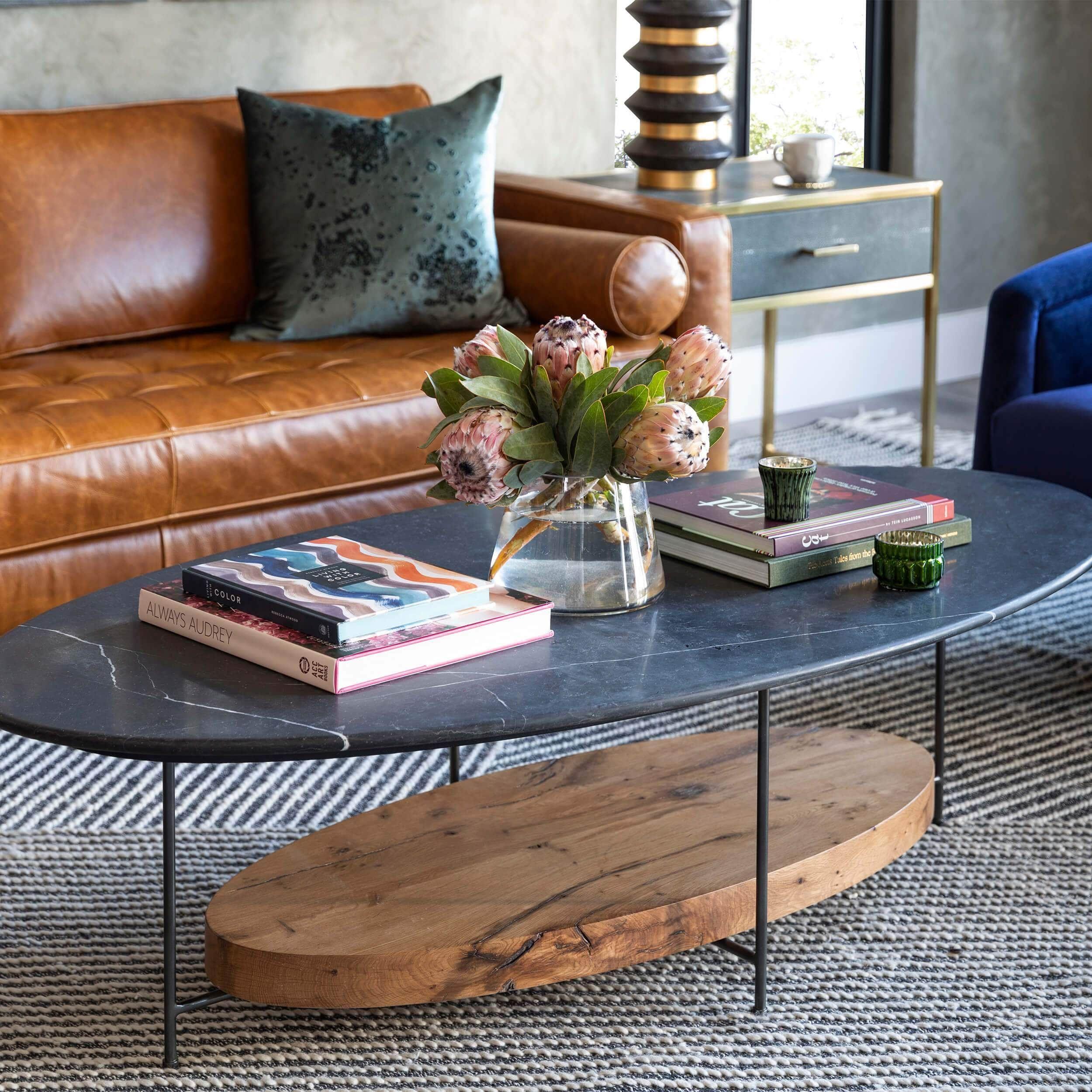 Olivia Oval Coffee Table Black Marble Coffee Table Table Decor Living Room Living Room Coffee Table