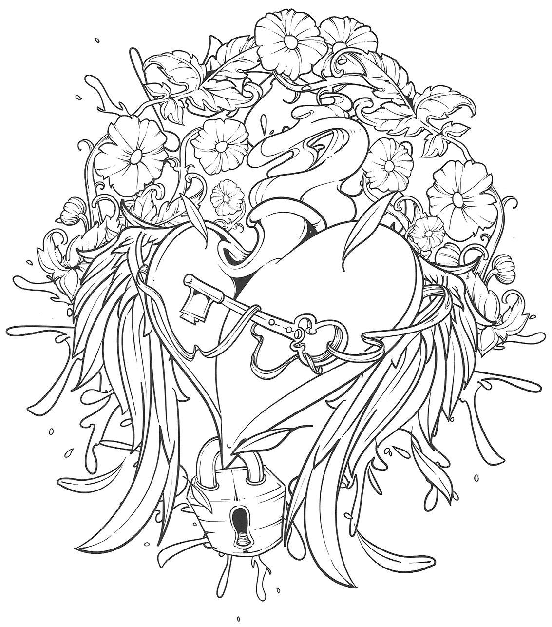tatouage coeur  colorier