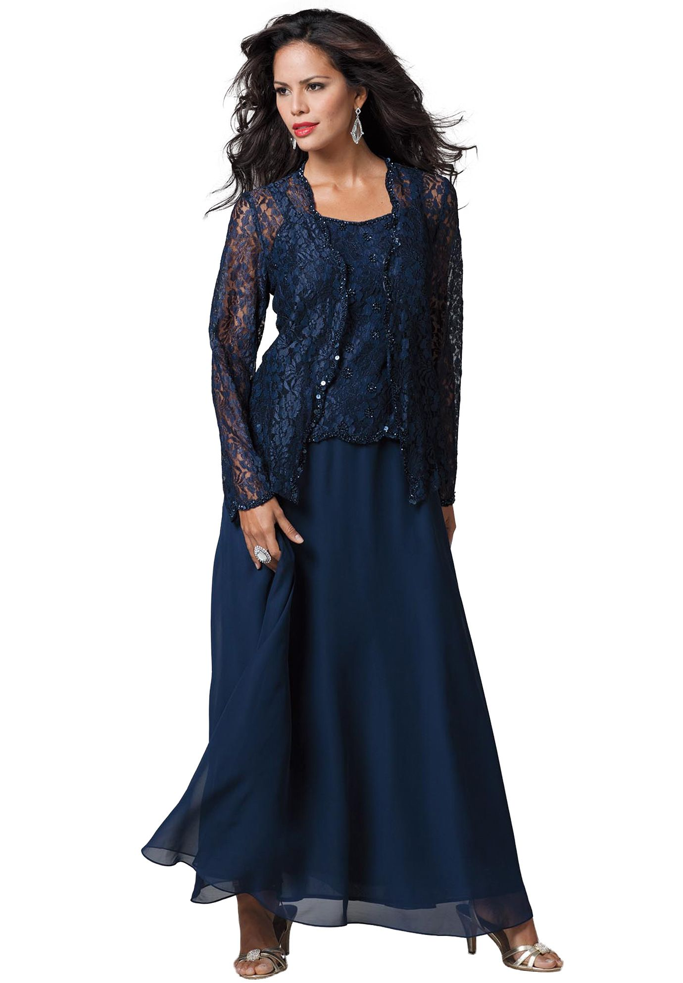 Lace and Chiffon Jacket Dress | Plus Size Special Occasion ...