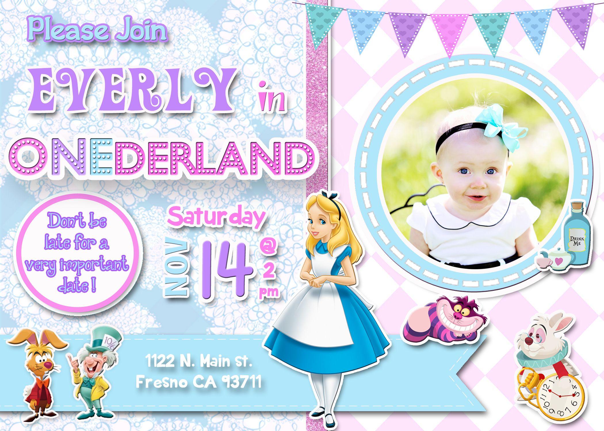 Alice in eDerland Birthday Party Invitation Invite Alice in