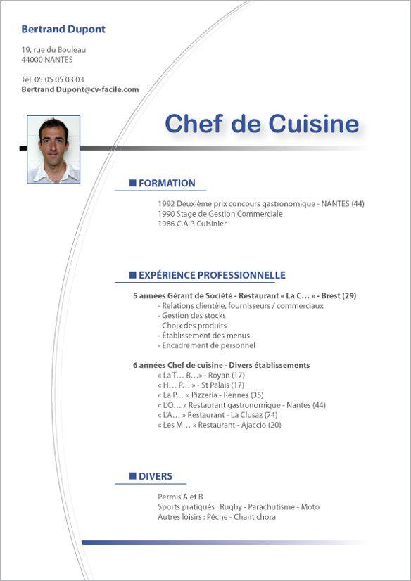 Mod le cv saisonier originaux pinterest cv exemple for Emploi cuisinier