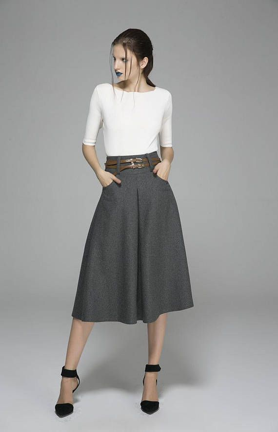 4a05547998 Gray skirt, wool skirt, midi skirt, winter skirt, skirt with pockets ...