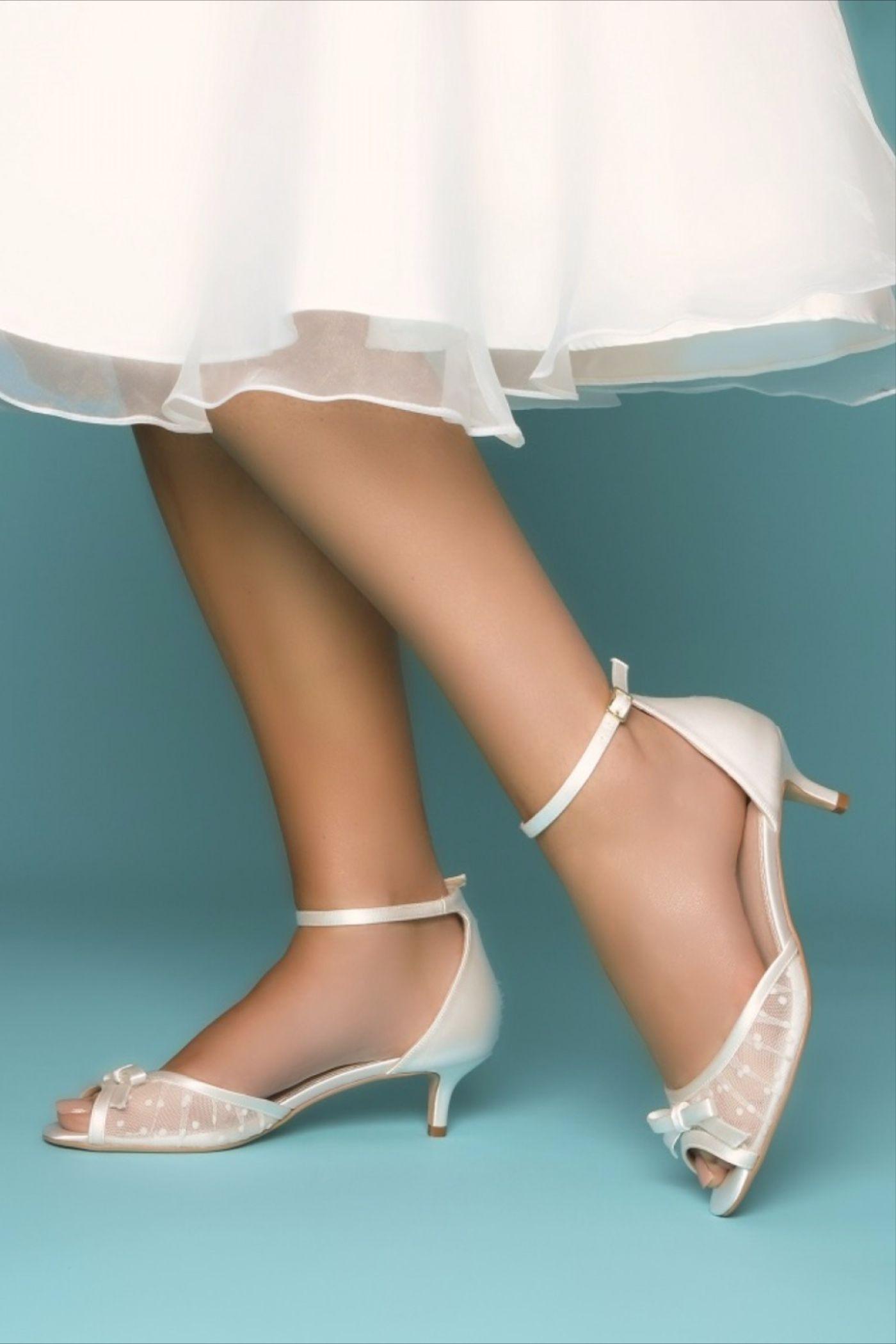 Perfect Bridal Eadie Ivory Polka Dot Mesh Kitten Heel Bridal Sandals | Low Heel Wedding Shoes