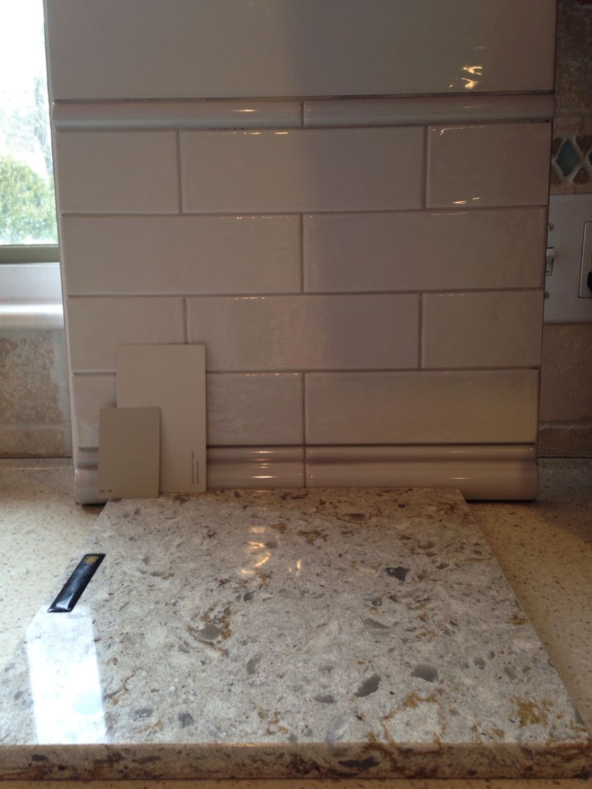 Cambria Windermere Quartz Countertops Subway Tile Backsplash Bm Revere Pewter Or Pashmina On